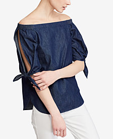 Lauren Ralph Lauren Denim Off-The-Shoulder Cotton Top