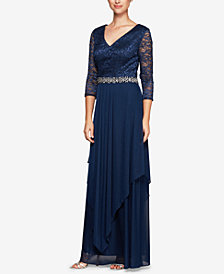 Alex Evenings Belted & Draped Lace Gown