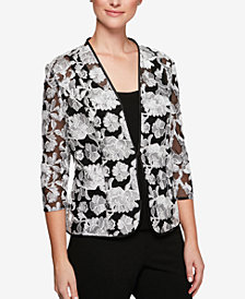 Alex Evenings Petite Printed Embroidered-Mesh Jacket & Shell