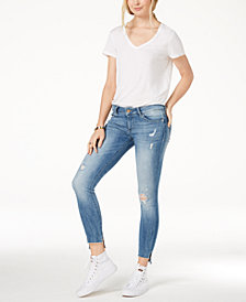 DL 1961 Emma Low-Rise Step-Hem Skinny Jeans