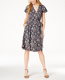 Maison Jules Flutter-Sleeve Wrap Dress, Created for Macy's