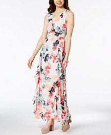 Vince Camuto Floral-Print Chiffon Ruffle Maxi Dress