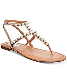 I.N.C. Madigane Embellished Flat Thong Sandals, Created for Macy's