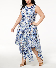 Calvin Klein Plus Size Printed Handkerchief-Hem Fit & Flare Dress