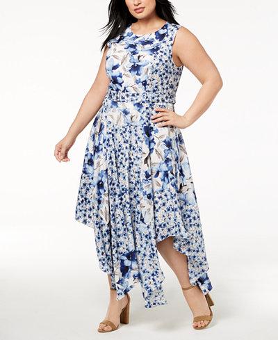 Calvin Klein Plus Size Printed Handkerchief-Hem Fit & Flare Dress