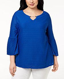 Calvin Klein Plus Size Ottoman Flared-Sleeve Hardware Blouse