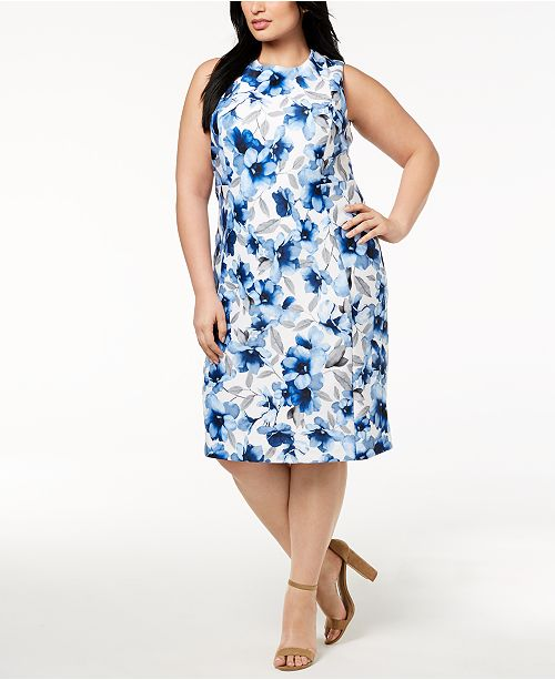 ce1568619b6 Calvin Klein Plus Size Floral-Print Sheath Dress   Reviews - Dresses ...