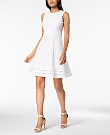 Calvin Klein Cotton Eyelet Fit & Flare Dress