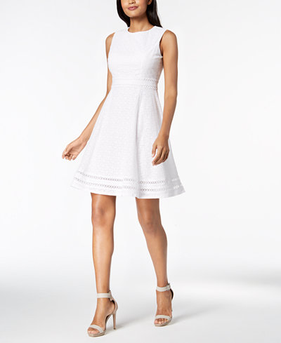 Calvin Klein Cotton Eyelet Fit & Flare Dress, Regular & Petite