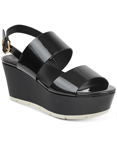 Guess Kaelan Metallic Flatform Sandals Women's Shoes
