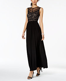Nightway Illusion Sequined Lace Gown