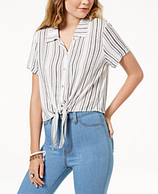 Gypsies & Moondust Juniors' Striped Tie-Front Button-Up Shirt