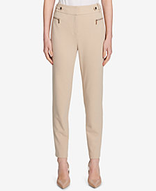 Calvin Klein Zippered Moto Straight-Leg Pants