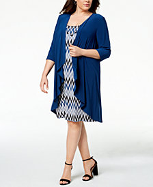 R & M Richards Plus Size Printed Dress, Waterfall Jacket & Necklace