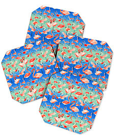 Deny Designs Ninola Design Summer Flamingos Coaster Set