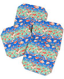 Deny Designs Ninola Design Summer Flamingos Coaster Set