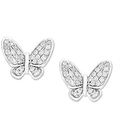 EFFY Kidz® Children's Diamond Butterfly Stud Earrings (1/6 ct. t.w.) in 14k White Gold