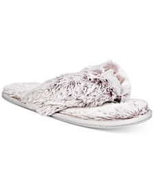 Women's Faux-Fur Memory Foam Flip-Flop Slippers