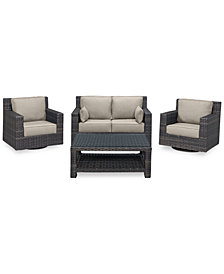 Viewport Outdoor Wicker 4-Pc. Seating Set (1 Loveseat, 2 Swivel Gliders & 1 Coffee Table) with Custom Sunbrella® Colors, Created for Macy's