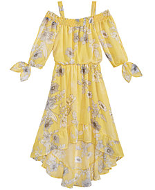 Sequin Hearts Floral-Print High-Low Hem Maxi Dress, Big Girls