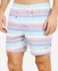 "Nautica Men's Beach Stripe  6"" Swim Trunks"