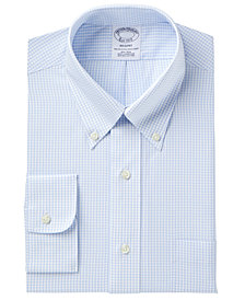 Brooks Brothers Men's Regent Slim-Fit Fit Non-Iron Polo Button Light Blue Windowpane Short Sleeve Dress Shirt