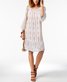 Style & Co Petite Mixed-Print Midi Dress, Created for Macy's