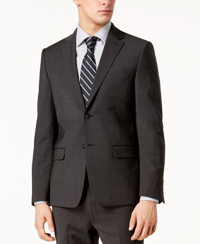 Calvin Klein - Men's Skinny Fit Infinite Stretch Charcoal Suit Jacket