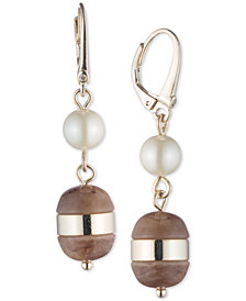 DKNY Gold-Tone Imitation Pearl & Horn Double Drop Earrings, Created for Macy's