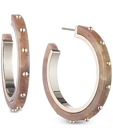 DKNY Gold-Tone & Horn Hoop Earrings, Created for Macy's