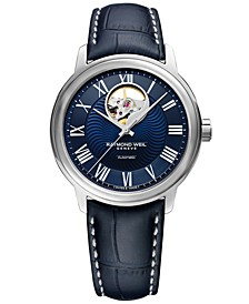 Men's Swiss Automatic Maestro Blue Leather Strap Watch 39.5mm