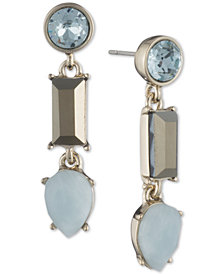 DKNY Gold-Tone Colored Stone Linear Drop Earrings, Created for Macy's