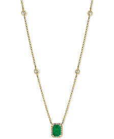 "EFFY® Emerald (1 ct. t.w.) & Diamond (1/5 ct. t.w.) 18"" Pendant Necklace in 14k Gold"