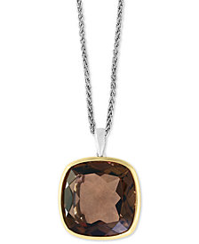 "EFFY® Smoky Quartz 18"" Pendant Necklace (20 ct. t.w.) in Sterling Silver & 18k Gold"