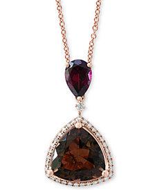"EFFY® Multi-Gemstone (4-1/4 ct. t.w.)  & Diamond (1/6 ct. t.w.) 18"" Pendant Necklace in 14k Rose Gold"