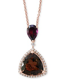 "EFFY® Multi-Gemstone (4-1/4 ct. t.w.)  & Diamond (1/6 ct. t.w.) 18"" Pendant Necklace in 14k Rose Gold"