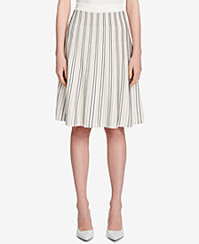 Calvin Klein Striped Flare A-Line Skirt