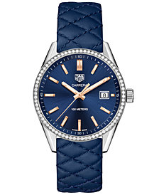 TAG Heuer Women's Swiss Carrera Diamond (3/4 ct. t.w.) Blue Quilted Leather Strap Watch 39mm