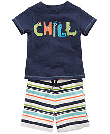 First Impressions Chill-Print T-Shirt & Striped Shorts, Baby Boys, Created for Macy's