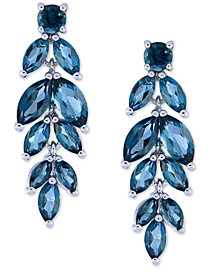 Blue Topaz Leaf Drop Earrings (6-3/8 ct. t.w.) in Sterling Silver