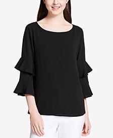 Calvin Klein Tiered Ruffle-Sleeve Blouse