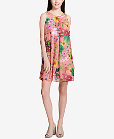 Calvin Klein Floral-Stripe Shift Dress