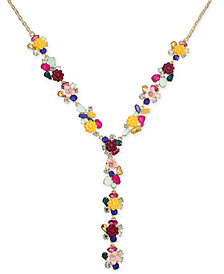 "I.N.C. Gold-Tone Flower Motif Y-Necklace, 20"" + 3"" extender, Created for Macy's"