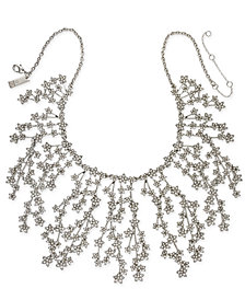 "I.N.C. Silver-Tone Crystal Cluster Flower Statement Necklace, 16"" + 3"" extender, Created for Macy's"