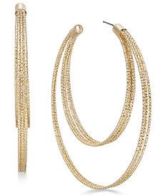 Thalia Sodi Gold-Tone Textured Double-Row Hoop Earrings, Created for Macy's