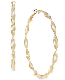 Thalia Sodi Gold-Tone Twist Hoop Earrings, Created for Macy's