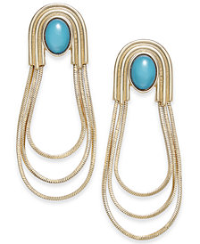 Thalia Sodi Gold-Tone Stone & Triple-Loop Drop Earrings, Created for Macy's