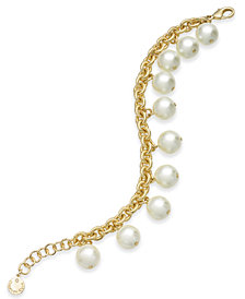 Charter Club Gold-Tone Shaky Imitation Pearl Link Bracelet, Created for Macy's