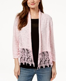 I.N.C. Lace-Trim Open-Front Topper Cardigan, Created for Macy's