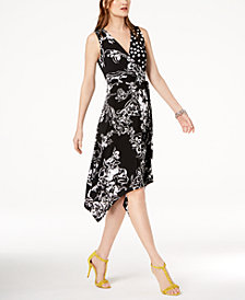 I.N.C. Petite Mixed-Print Faux-Wrap Dress, Created for Macy's
